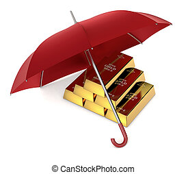 protect your investment - one stack of gold bars with an ...
