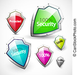 Protected and security icons - Vector shield symbol with ...