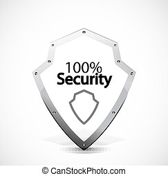 Protected and security icons - Vector shield symbol with...
