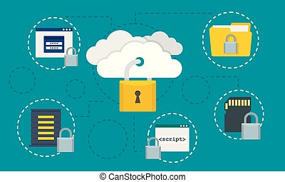 Protected data cloud concept background, flat style