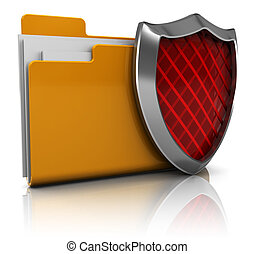 protected folder - 3d illustration of folder icon with...