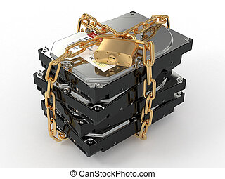 Protected hdd. Chain and lock on hard disk drive. 3d