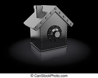 protected house - abstract 3d illustration of house shaped ...