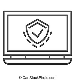 Protected laptop icon, outline style