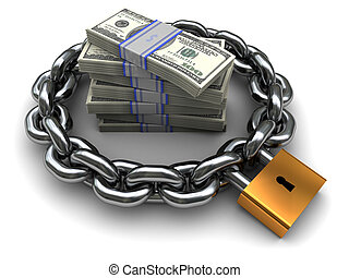 protected money - 3d illustration of chain and money,...