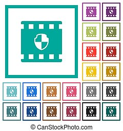 Protected movie flat color icons with quadrant frames on...