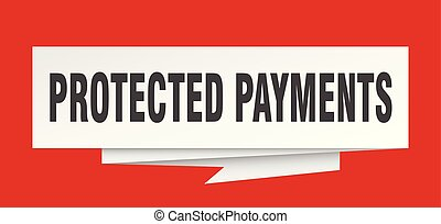 protected payments sign. protected payments paper origami...