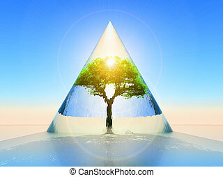 Protected tree - conceptual view of the protection of nature