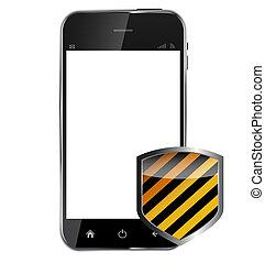 protecteur, bouclier, background..vector, mobile, résumé, isolé, illustration, téléphone, conception, réaliste, blanc