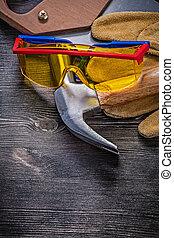 protecteur, cuir, marteau, main, lunettes protectrices, gants, griffe, scie