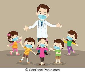 protecteur, girl, masque, docteur, porter, garçon, monde médical, enfants, virus
