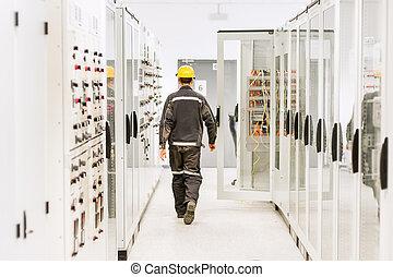 protecteur, relais, switchgear., ingénierie, voyante, tension, département, utilisation