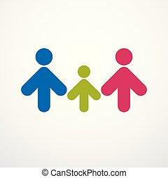 protecteur, relation, famille, gens, simple, créé, signs., vecteur, père, mère, tendre, logo, géométrique, heureux, ou, child., icône