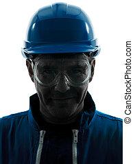 protecteur, silhouette, construction, portrait, workwear, homme