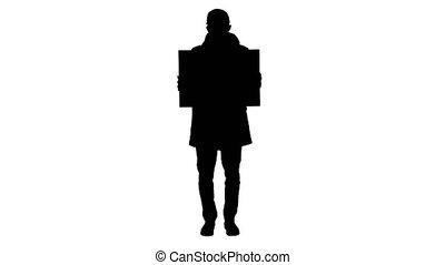 protecteur, silhouette, homme, copie, mask., espace, panneau affichage, porter, désinvolte