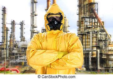protecteur, sur, usine, chimique, complet, homme