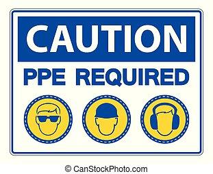 protecteur, symbole, personnel, requis, équipement, (ppe), icône