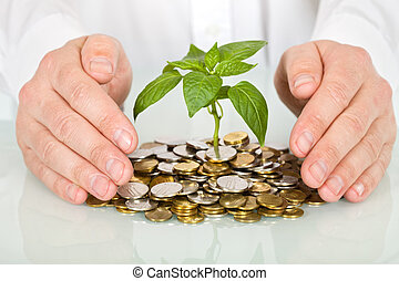Protecting a good investment and making money concept - businessman hands with plant sprouting from a pile of coins