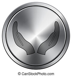 Protecting hands icon. Round icon imitating metal.