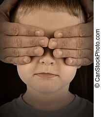 Protecting Sad Boy with No Eyes - A child has his eyes...