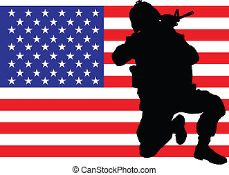 Protecting the flag - Vector illustration of an american...