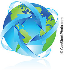 Protecting the planet. Illustration of the planet with lots...