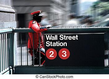 protecting wall street - security guard at wall street...