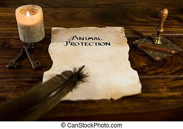 protection, animal, mots, document