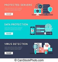 protection, bannières horizontales, ensemble, données