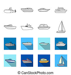 Protection boat, lifeboat, cargo steamer, sports yacht. Ships and water transport set collection icons in outline, flat style bitmap symbol stock illustration web.