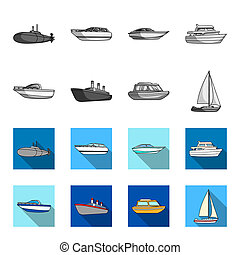 Protection boat, lifeboat, cargo steamer, sports yacht. Ships and water transport set collection icons in monochrome, flat style bitmap symbol stock illustration web.