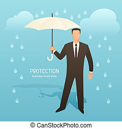 Protection business conceptual illustration with businessman holding umbrella. Image for web sites, articles, magazines