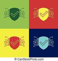 protection., chèque, couleur bouclier, signe., backgrounds., isolé, illustration, marque, vecteur, sécurité, cyber, numérique, sécurité, données, concept., icône