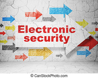 Protection concept: arrow whis Electronic Security on grunge wall background