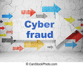 Protection concept: arrow whis Cyber Fraud on grunge wall background