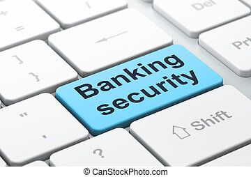 Protection concept: Banking Security on computer keyboard background