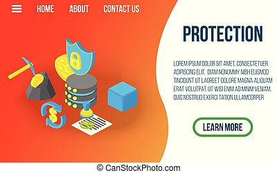 Protection concept banner, isometric style