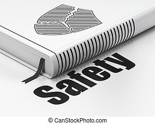 Protection concept: book Broken Shield, Safety on white background