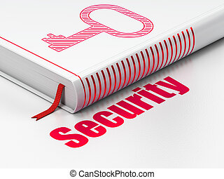 Protection concept: closed book with Red Key icon and text Security on floor, white background, 3d render
