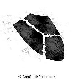 Protection concept: Broken Shield on Digital background