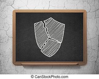Protection concept: Broken Shield on chalkboard background