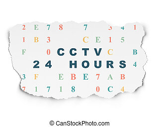 Protection concept: CCTV 24 hours on Torn Paper background