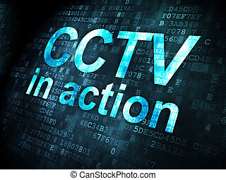 Protection concept: CCTV In action on digital background