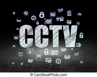 Protection concept: CCTV in grunge dark room