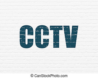 Protection concept: CCTV on wall background
