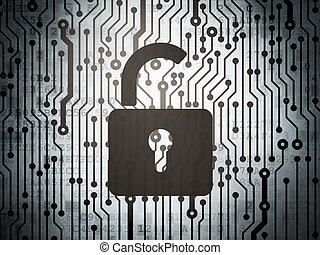 Protection concept: circuit board with Opened Padlock