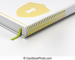 Protection concept: closed book, Shield With Keyhole on white background