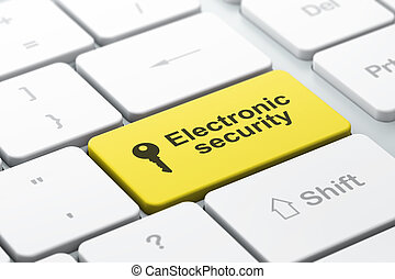 Protection concept: computer keyboard with Key icon and word Electronic Security, selected focus on enter button, 3d render