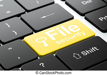 Protection concept: computer keyboard with Key icon and word File Security, selected focus on enter button, 3d render