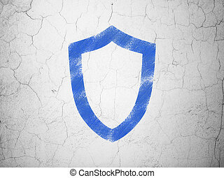Protection concept: Contoured Shield on wall background